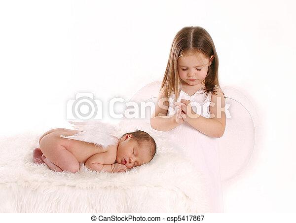 祈ること, 天使, 上に, 新生, 姉妹 - csp5417867