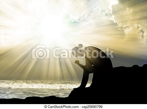 祈ること, 神, 女, 日没 - csp25690799