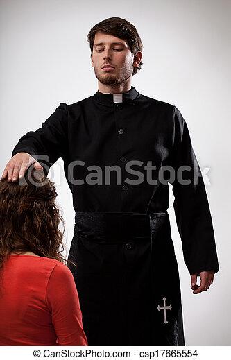 祝福, 司祭, 信者 - csp17665554