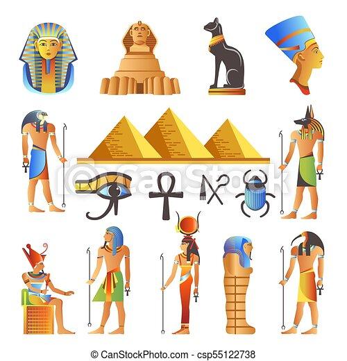神聖, シンボル, ベクトル, 文化, 神, 隔離された, 動物, アイコン, エジプト - csp55122738