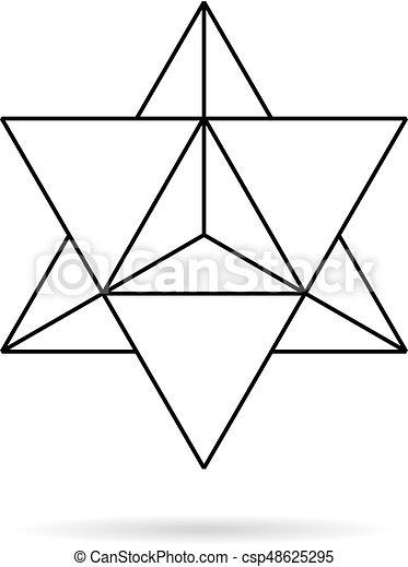 神聖, 幾何学的, geometry., 薄いライン, merkaba - csp48625295