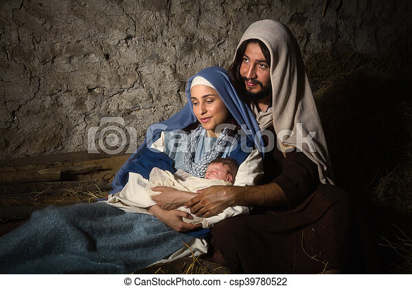神聖, 現場, nativity, 親 - csp39780522