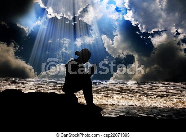 神, 女の子, 祈ること - csp22071393