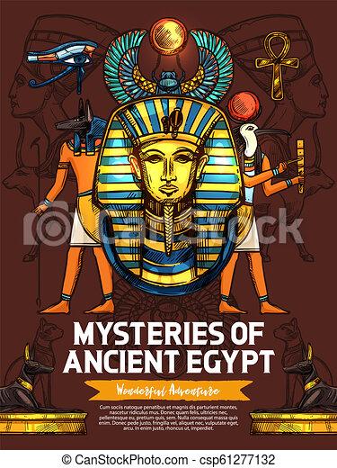 神, 彫刻, 古代, 宗教, エジプト - csp61277132