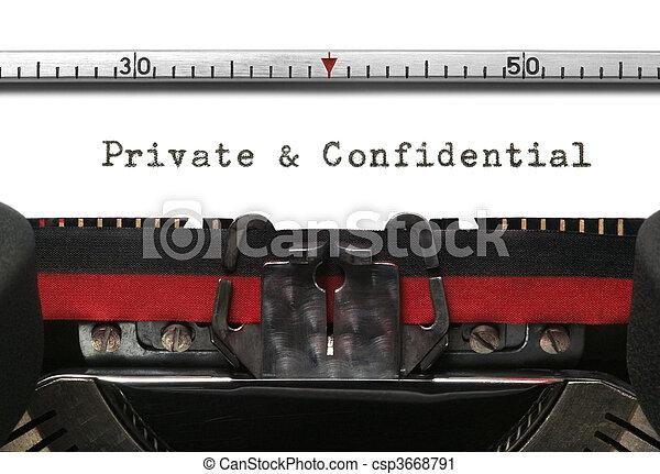 私用, 機密, タイプライター - csp3668791