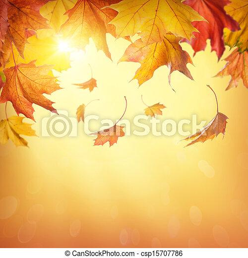秋天, 下落的 葉子 - csp15707786
