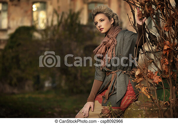 秋天, 風景, 白膚金發碧眼的人, 美麗 - csp8092966