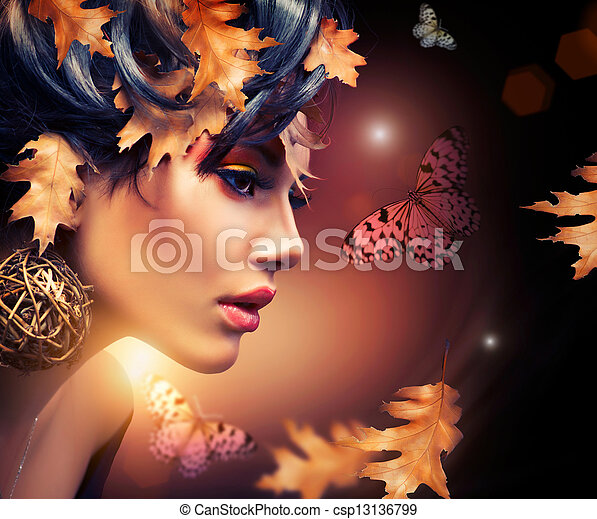 秋季, 妇女, portrait., 方式, 落下 - csp13136799