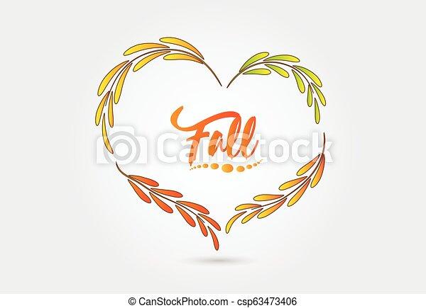 秋季, 心形状, 矢量 - csp63473406