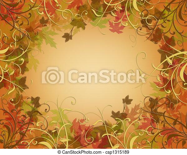 秋, ボーダー, 感謝祭, 秋 - csp1315189