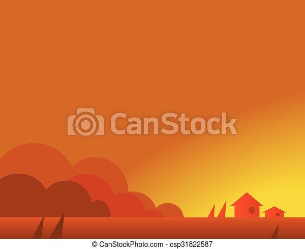 美しい 秋 壁紙 イラスト 家 ベクトル 村 風景