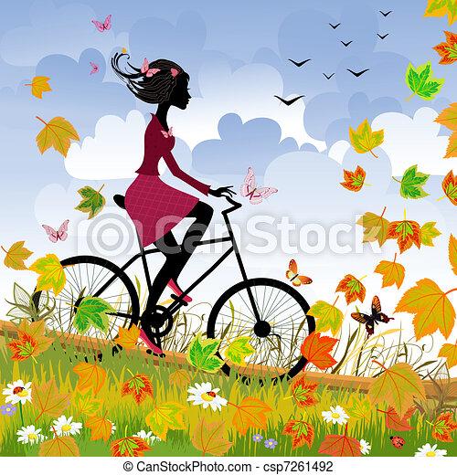 秋, 女の子, 自転車, 屋外で - csp7261492