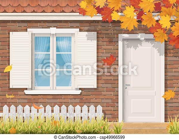 秋, 家, ファサド, れんが, 季節 - csp49966599