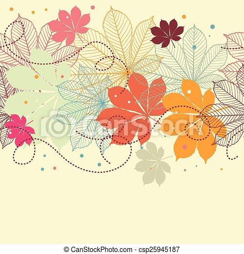 秋, seamless, 背景, leaves. - csp25945187