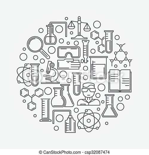 科学 化学 イラスト スタイル 紋章 線である 科学 イラスト