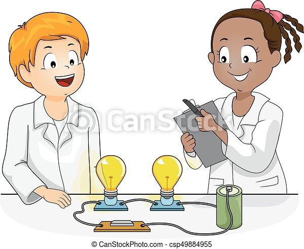 科学 子供 物理学 実験 イラスト 電球 指揮する 子供 電池 科学