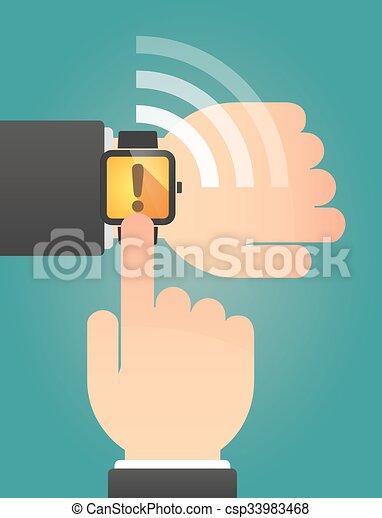 称賛, 指すこと, 腕時計, 印, 手, 痛みなさい - csp33983468