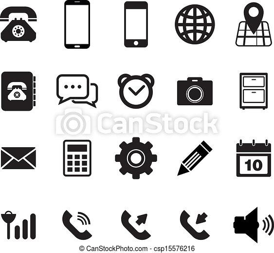 移動式 電話, セット, アイコン - csp15576216