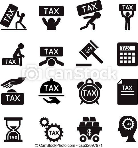 税, ベクトル, セット, イラスト, アイコン - csp32697971