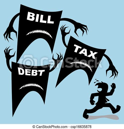 税, 手形, 攻撃, 負債, ビジネスマン, あった - csp16635878