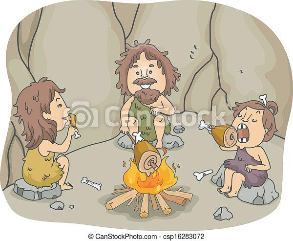 穴居人, 食事, 家族 - csp16283072