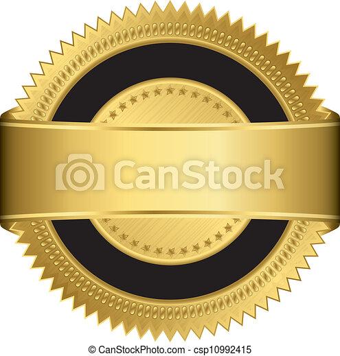 空白, 黃金, ribb, 標簽 - csp10992415