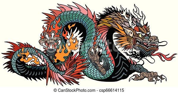 空色, アジア人, ドラゴン - csp66614115