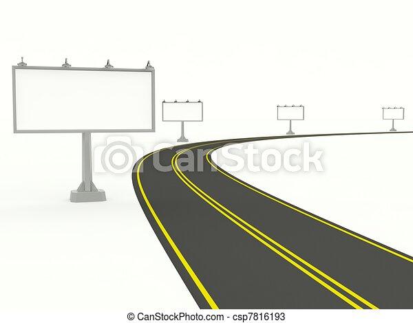 空, 廣告欄, 白色, 被隔离, 路 - csp7816193