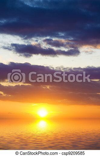 空, 背景, sunset. - csp9209585