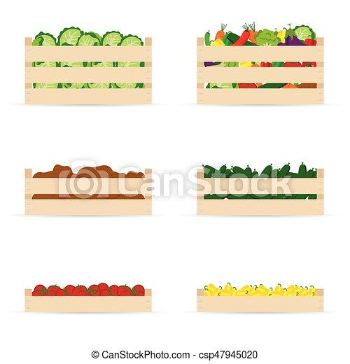 空 野菜 セット 木枠 イラスト セット カラフルである 野菜