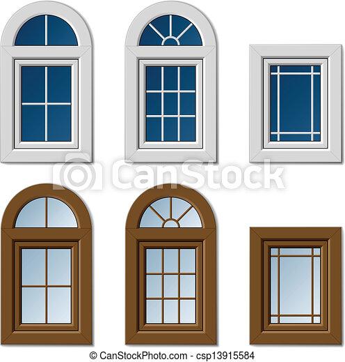 窓, ブラウン, 白, ベクトル, プラスチック - csp13915584