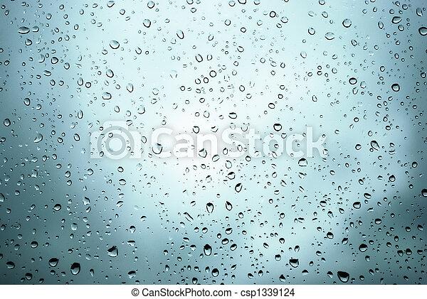 窓, 低下, 雨 - csp1339124