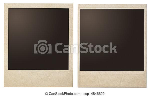 立即, 葡萄酒, 即顯膠片, 被隔离, 照片框架 - csp14846622