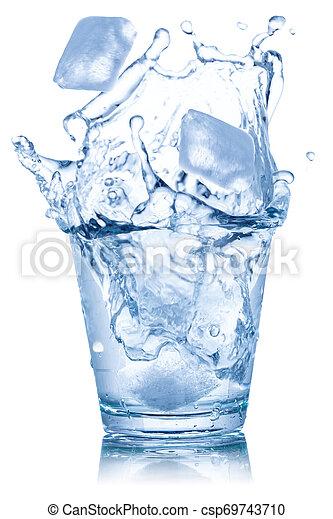 立方体, 隔離された, 氷 水, ガラス, 白 - csp69743710