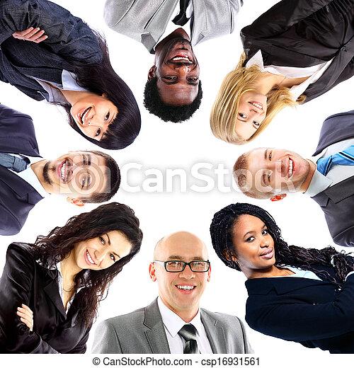 站, 团体, 商业, 挤作一团, 人们, 微笑, 低的角度观点 - csp16931561
