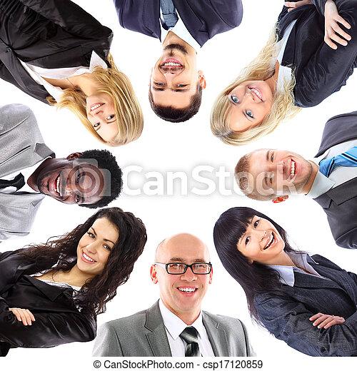 站, 团体, 商业, 挤作一团, 人们, 微笑, 低的角度观点 - csp17120859