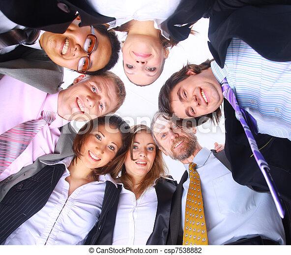 站, 团体, 商业, 挤作一团, 人们, 微笑, 低的角度观点 - csp7538882