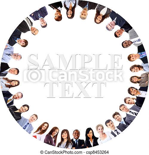站, 团体, 商业, 挤作一团, 人们, 微笑, 低的角度观点 - csp8453264