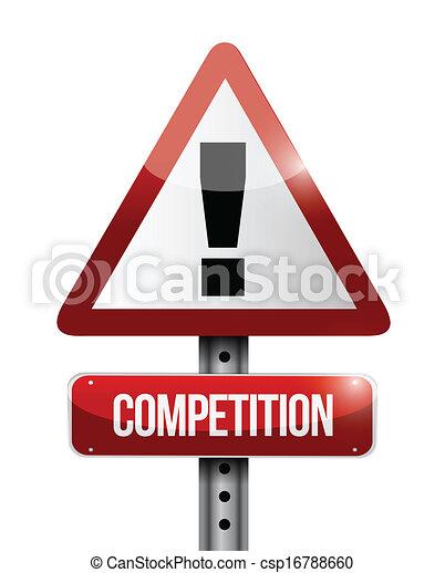 競争, 警告, 道, イラスト, 印 - csp16788660