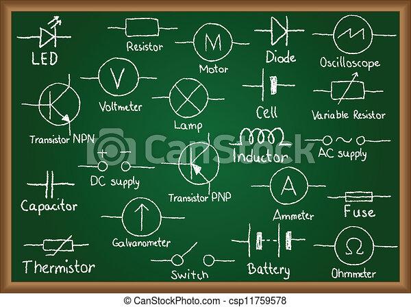 符号, 电, 黑板, 电路 - csp11759578
