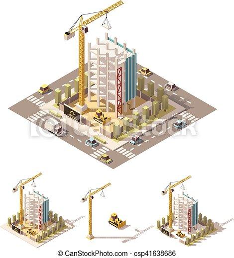 等大, ベクトル, サイト, poly, 建設, 低い - csp41638686