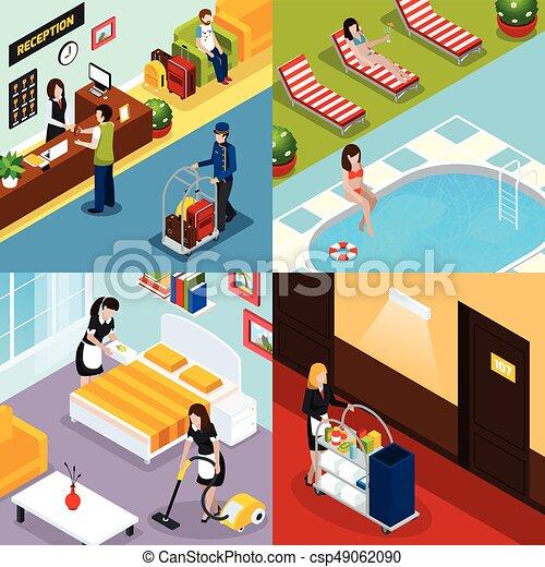 等大, ホテル, セット, サービス, アイコン - csp49062090