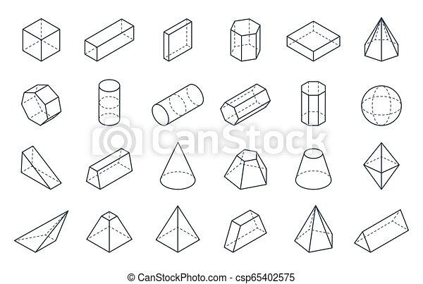 等大, 立方体, 線である, 形態, shapes., ピラミッド, シリンダー, ベクトル, コーン, 多角形, 幾何学的, 3d, objects., 最小である, 低い - csp65402575
