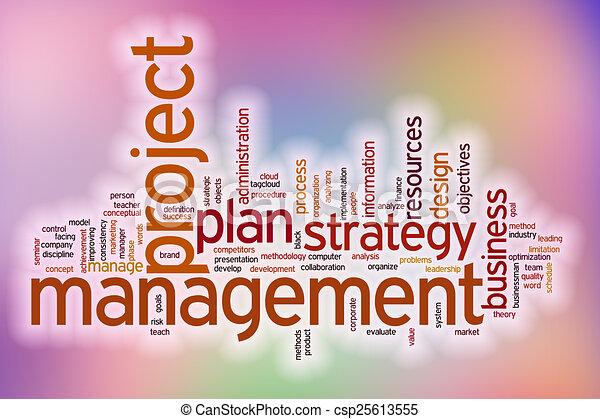 管理, 単語, 抽象的, プロジェクト, 背景, 雲 - csp25613555