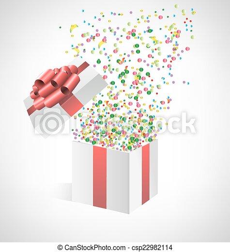箱子, 五彩紙屑, grayscale, 禮物 - csp22982114