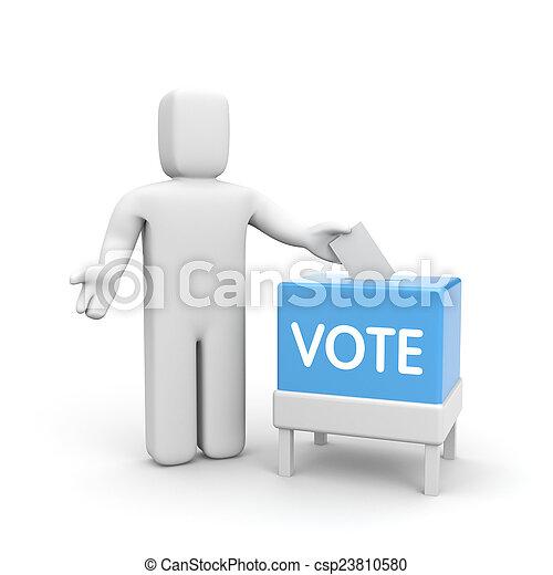 箱子, 人, 選票 - csp23810580