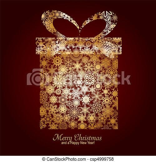 箱子, 布朗, 做, 歡樂, 金, 願望, 雪花, 禮物, 插圖, 年, 矢量, 背景, 新, 圣誕節卡片, 愉快 - csp4999758