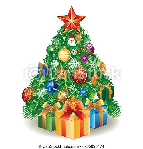 箱子, 樹, 圣誕節禮物 - csp5090474