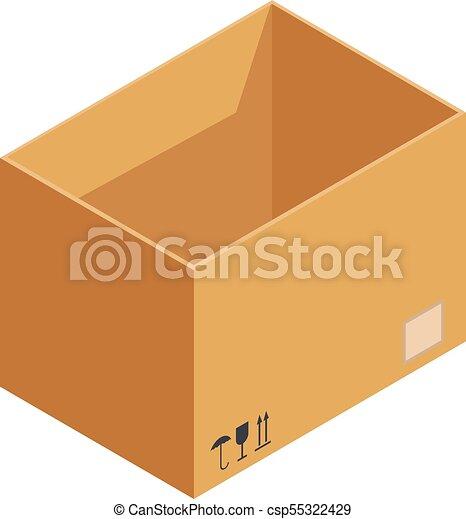 箱, アイコン, 等大, 貯蔵, スタイル - csp55322429