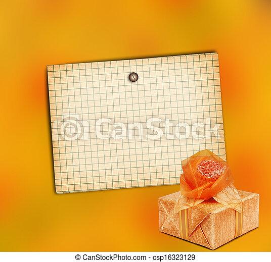 箱, シート, 贈り物, 抽象的, 古い, ペーパー, 背景, グランジ - csp16323129